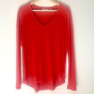 Athleta Red Oversized Long Sleeve Tee Small